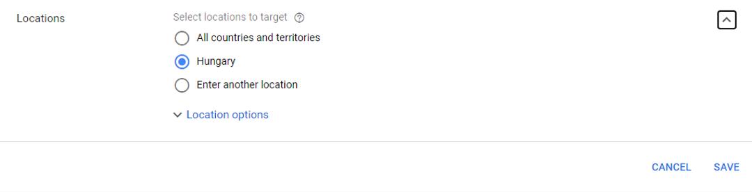 Google AdWords helykritériumok