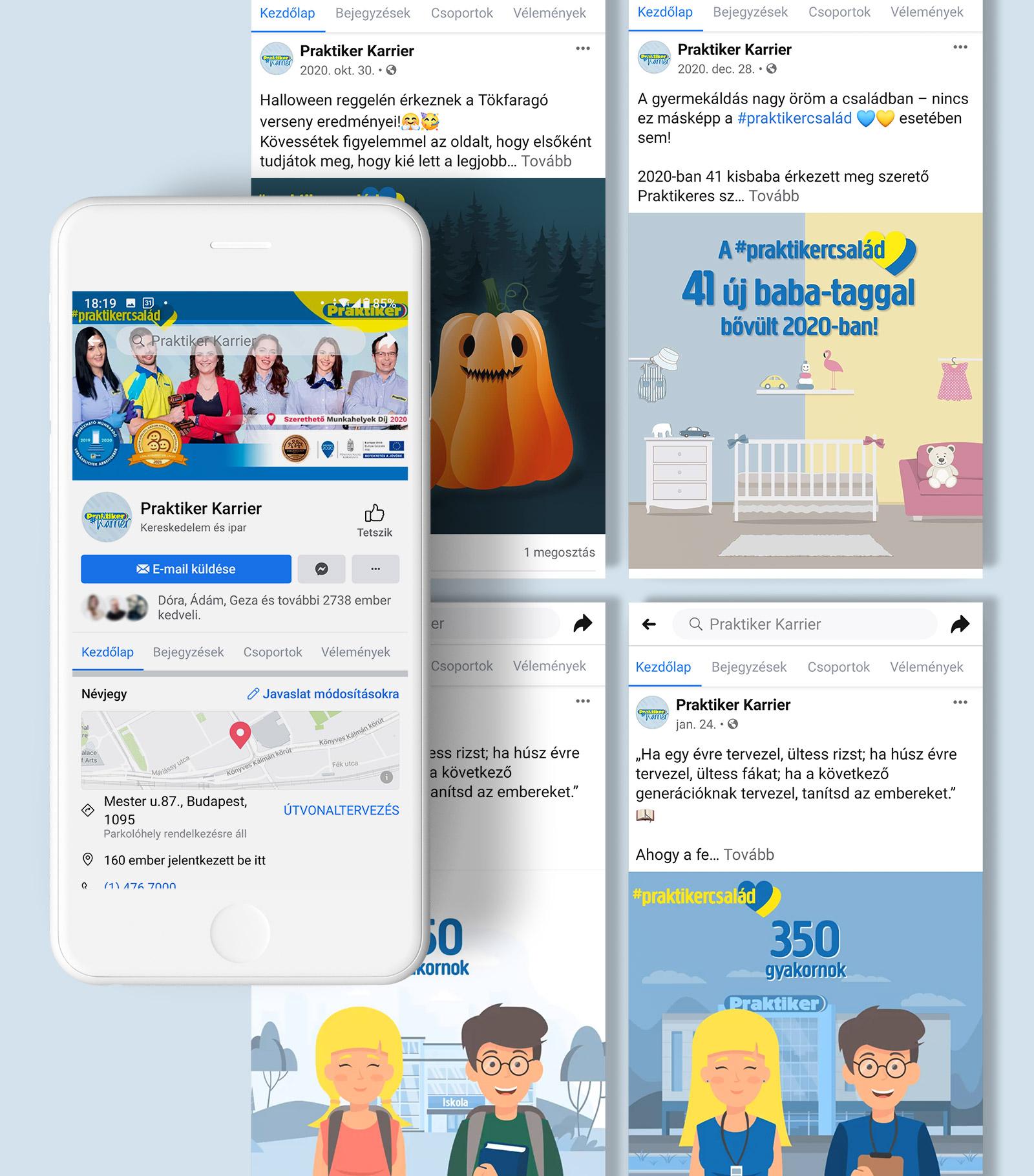 Praktiker HR Facebook és Instagram oldal menedzselése